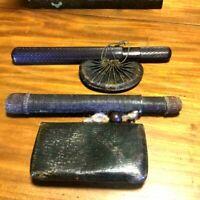 Japanese antique smoking pipe Kiseru Case Dragonfly