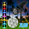 7LED Solar Spot Light Colour Changing Wall Outdoor Garden Yard Lamps Waterproof