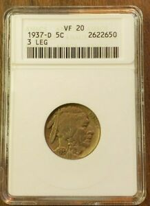 1937-D Buffalo 5 Cent 3 Leg VF 20