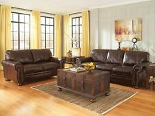 SHELTON - Traditional Brown Genuine Leather Sofa Couch Set Living Room Furniture