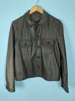 LARGE - Vintage Ralph RL Brown Leather Jacket - Lauren Double RRL Biker Western