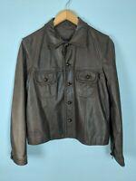 Vintage Ralph RL Brown Leather Jacket - Size Large - Lauren Double RL RRL