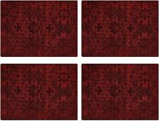 """Set of 4  Manual Cambridge Fleur de Lis Lined Tapestry Red Wine Placemats 18x13"""""""