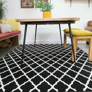 Black Moroccan Trellis Rug Small Large Geometric Rugs For Living Room Bedroom