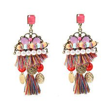 Colorful Tassel Drop Earrings Beaded Pearl Cluster Ancient Coins Pompom Dangle