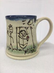 Handmade Hand Thrown Clay Coffee Mug Pottery Stoneware Kids