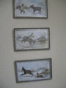 3 FOLK ART PAINTINGS, FARMER WITH MULE?, PLEASE READ DESCRIPTION, ca 1900