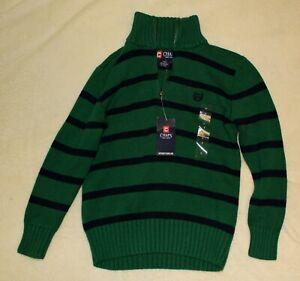 Chaps Boys Size 7 Green/Navy Blue 1/4 Zip Sweater