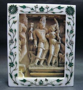 10 x 08 Inches Marble Photo Frame Inlay Decor Frame with Malachite Stone Work