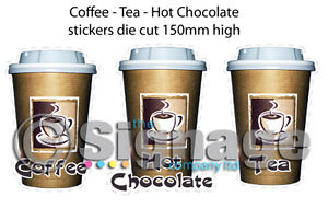 HOT DRINKS - coffee -tea - hot chocolate die cut stickers for catering trailer