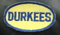 """DURKEES EMBROIDERED SEW ON PATCH ADVERTISING UNIFORM HAT 3 1/2"""" x 2"""""""