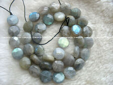 """WOW! 10mm coin faceted labradorite 15"""" nature wholesale beads"""