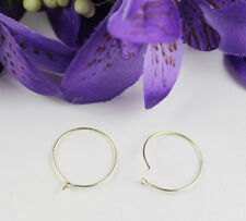 100PCS Gold Plate Wine Glass Charm Wire Hoop Earings 20mm #22527