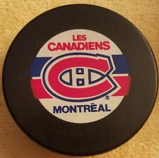 MONTREAL CANADIENS OFFICIAL NHL HOCKEY PUCK VINTAGE  INGLASCO  BIG ORANGE LABEL