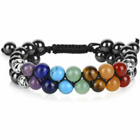 7 Chakra Healing Balance Beaded Bracelet Lava Yoga Reiki Prayer Stone Gifts#Q