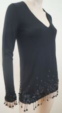 CHANEL Black 100% Cashmere Floral Sequin Detail V Neck Jumper Sweater Top Sz:M