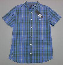 NEW Bauhaus Blue Medium Men's Short Sleeve Check Shirt RRP $59.95