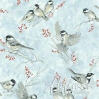 ICE BLUE SILVER: BABY ITS COLD OUTSIDE Cotton Print by Hoffman Fabrics BTY