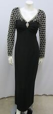 VINTAGE VICTORIA BEADED LONG DRESS GOWN BLACK HEAVILY BEADED SLEEVES & BACK 10