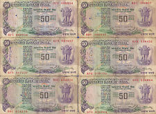 50 RUPEES X 6 NOTES LOT ~WITHOUT FLAG ON BACK ~I G PATEL - V. RARE  ~