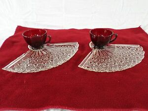 Anchor Hocking * Snack Plate & Cup * SET/s of 2 * ROYAL RUBY Red *Daisy & Button