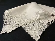 #6381🌟Vintage Fine Linen & Wide Whimsy Open Lace Heirloom Handkerchief