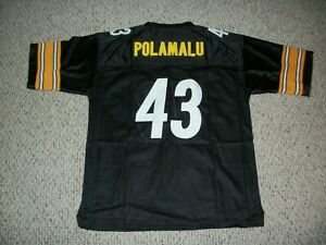 TROY POLAMALU Unsigned Custom Black Pittsburgh Sewn New Football Jersey Sz S-3XL
