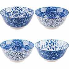 10-oz Fish Pattern Bowls Home Essentials Blue//White 4.5-inch Set of 4