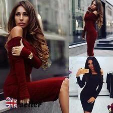 UK Women's Off Shoulder Bodycon Knitted Jumpers Dress Long Sleeve Cocktail Party