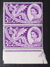 """GB 1958 3d Empire Games """"Dots to Left of Right/of H in BRITISH"""" SEE BELOW NB930"""