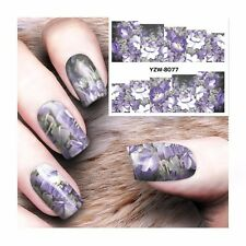 Nail Art Water Decals Stickers Transfers Purple White Flowers Gel Polish (8077)