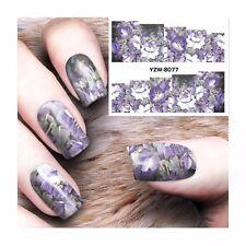 Art Pour Les Ongles Eau Autocollants Décalques Transferts Violet Fleurs Blanches