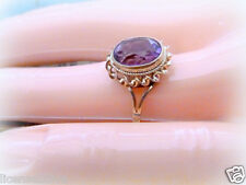 YELLOW GOLD 9CT ART DECO GENUINE VINTAGE AMETHYST COLORED RING TRUE VINTAGE 6.5