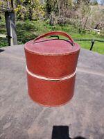 Vintage  Geometric Mod Wig Case Hat Box Zippered Travel Case
