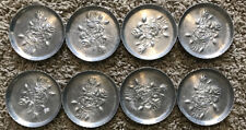 Vintage Everlast Metal Hand Forged Hammered Aluminum Coaster Rose Floral Set 6