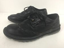 DR MARTENS M-8 W-9 Black Leather Wingtip Dress Casual Oxford Shoes