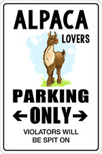 "*Aluminum* Alpaca Lovers Parking Only 8"" x 12"" Metal Novelty Sign  NS 003"