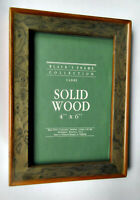 Vintage Wood Picture Frame Olive Green Brown 4x6 Photo Burled Executive Estate