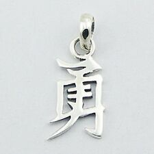 silver Jewelry Chinese symbol Courage 28mm Silver pendant Feng Shui genuine 925