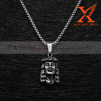 Stainless Steel Micro Small Jesus Head Pendant Necklace Box Chain 3MM 24""
