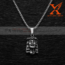 "Pendant Necklace Box Chain 3Mm 24"" Stainless Steel Micro Small Jesus Head"