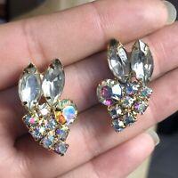 VTG Clear AB Iridescent Rhinestone Earrings Build Up Elegant