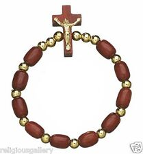 Rosary Cherry Wood Beads Gold Imprint Crucifix Catholic Bracelet, Made in Brazil