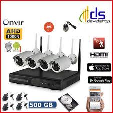 Kit telecamere videosorveglianza ip wifi a 4 canali esterno DVR infrarossi + HD