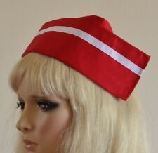 RED FABRIC NURSE HAT with white stripe & 2 buttons to back MATRON nurse's CAP