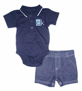 Calvin Klein Infant Boys S/S Navy Bodysuit 2pc Short Set Size 0/3M 3/6M 6/9M $50