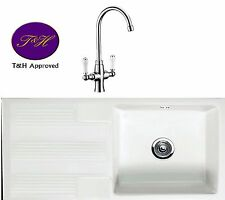 RAK Ceramics Gourmet Sink 4   Bowl White Ceramic Kitchen Sink belfast butler tap