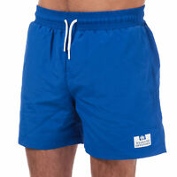 Mens Weekend Offender Barios Swim Shorts In Blue- Ribbed Waistband- Pockets To