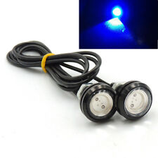 1 Pair Small LED Black DOME Car Boat -Chopper-Bobber Turn Signal Lights-Blue