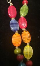 Vintage Hand Knotted Hard Candy Multicolored Glass Beaded Long Rainbow Necklace